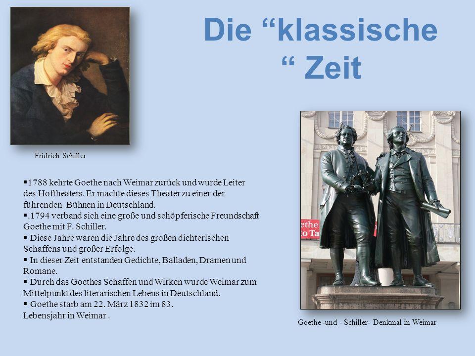  1788 kehrte Goethe nach Weimar zurück und wurde Leiter des Hoftheaters.