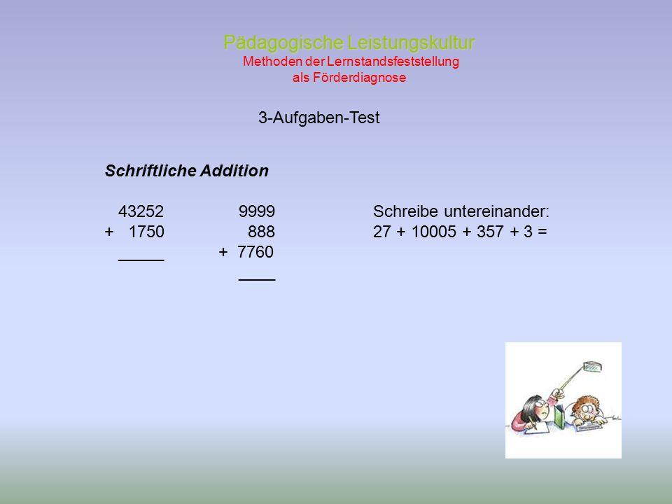 3-Aufgaben-Test Pädagogische Leistungskultur Pädagogische Leistungskultur Methoden der Lernstandsfeststellung als Förderdiagnose Schriftliche Addition 432529999Schreibe untereinander: + 1750 88827 + 10005 + 357 + 3 = _____ + 7760 ____
