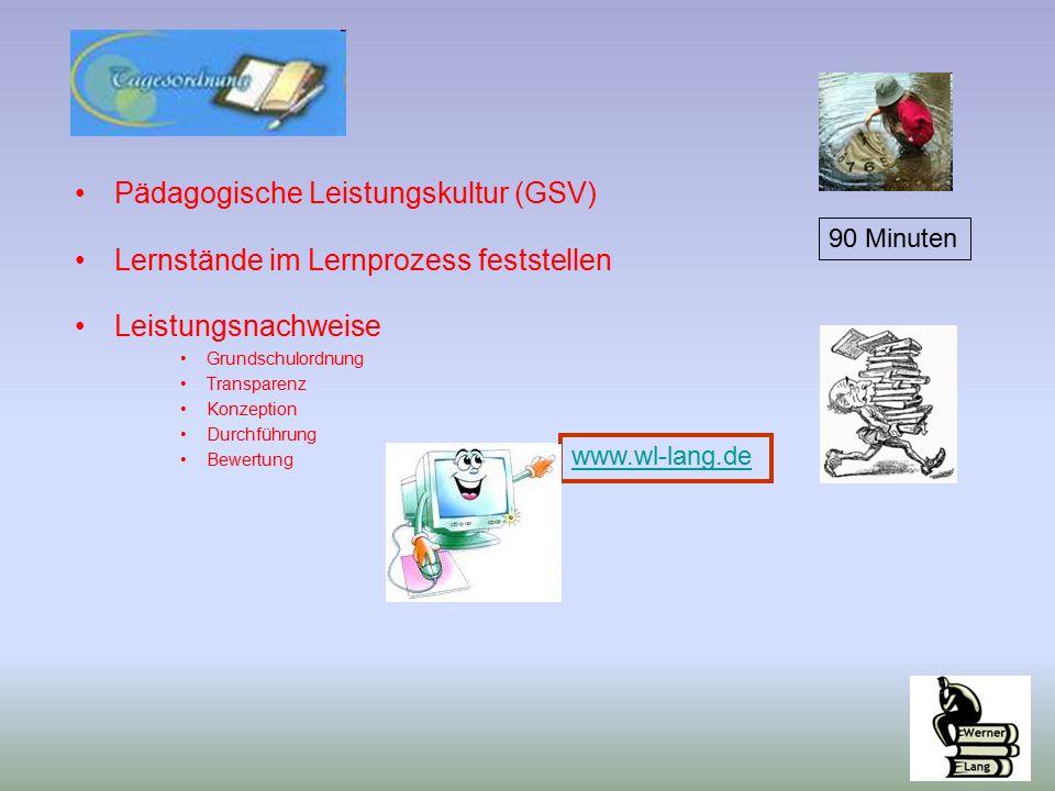 Pädagogische Leistungskultur (GSV) Lernstände im Lernprozess feststellen Leistungsnachweise Grundschulordnung Transparenz Konzeption Durchführung Bewertung www.wl-lang.de 90 Minuten