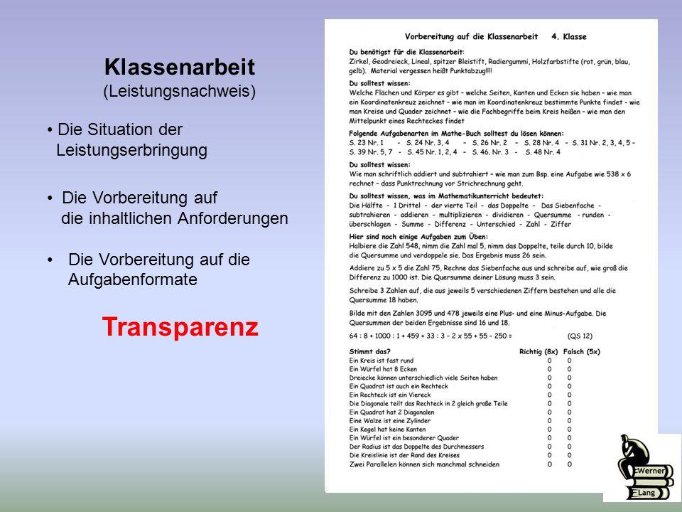 Klassenarbeit (Leistungsnachweis) Die Situation der Leistungserbringung Die Vorbereitung auf die inhaltlichen Anforderungen Die Vorbereitung auf die Aufgabenformate Transparenz