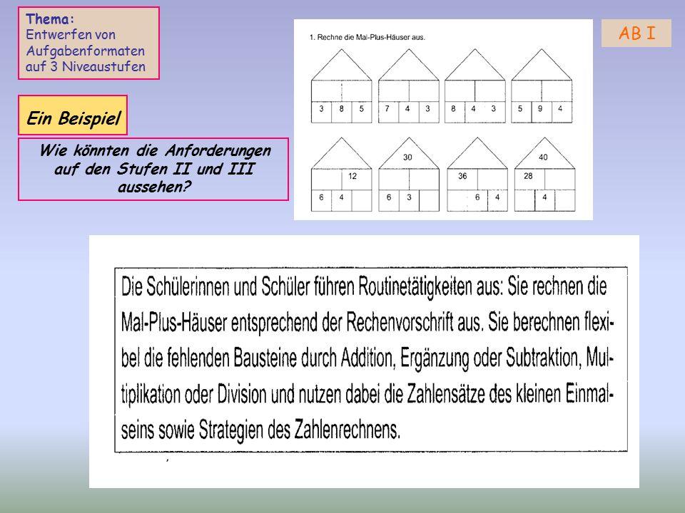 AB I Thema: Entwerfen von Aufgabenformaten auf 3 Niveaustufen Ein Beispiel Wie könnten die Anforderungen auf den Stufen II und III aussehen