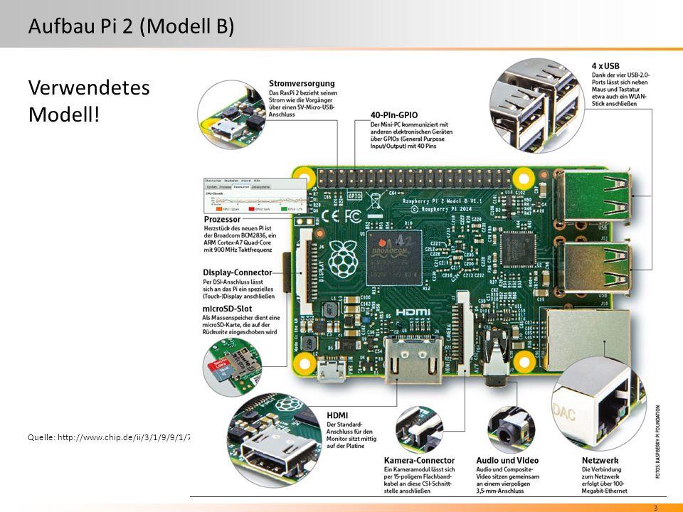 3 Aufbau Pi 2 (Modell B) Quelle: http://www.chip.de/ii/3/1/9/9/1/7/6/8/raspberry-62ae0f1e7b9af6f4.jpg Verwendetes Modell!