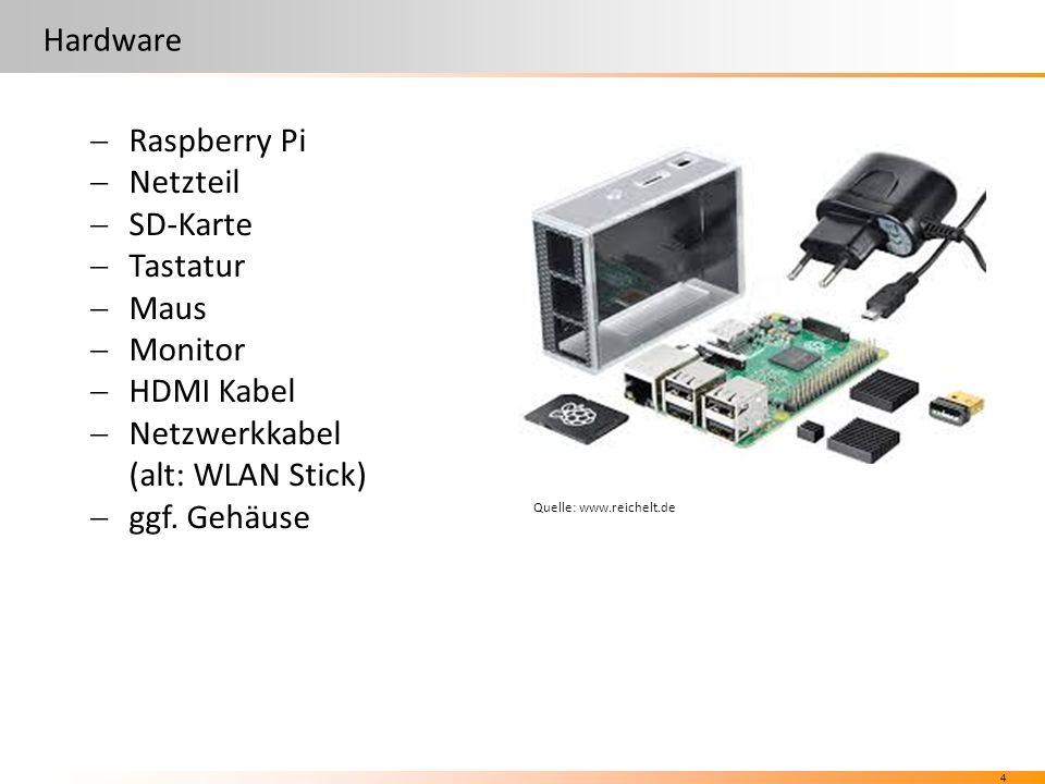 4 Hardware  Raspberry Pi  Netzteil  SD-Karte  Tastatur  Maus  Monitor  HDMI Kabel  Netzwerkkabel (alt: WLAN Stick)  ggf.