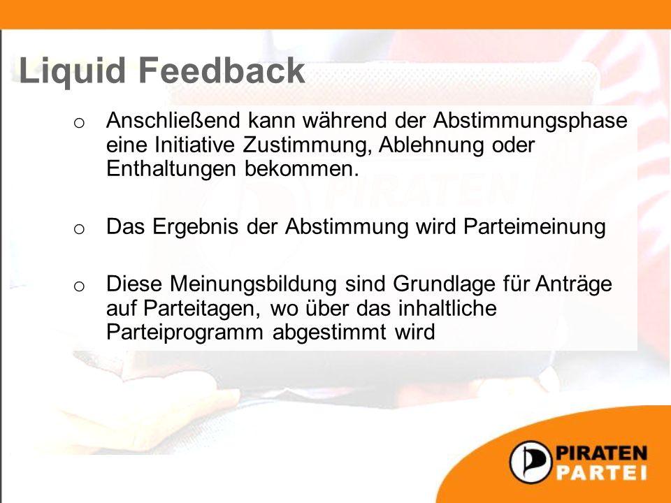 Liquid Feedback o Anschließend kann während der Abstimmungsphase eine Initiative Zustimmung, Ablehnung oder Enthaltungen bekommen.