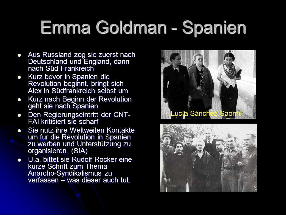Emma Goldman – Themen Pädagogik Pädagogik Anti-Militarismus Anti-Militarismus Geburtenkontrolle Geburtenkontrolle Freie Liebe Freie Liebe Feminismus Feminismus Redefreiheit / Organisationsfreiheit / Versammlungsfreiheit Redefreiheit / Organisationsfreiheit / Versammlungsfreiheit