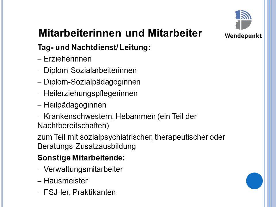 Mitarbeiterinnen und Mitarbeiter Tag- und Nachtdienst/ Leitung:  Erzieherinnen  Diplom-Sozialarbeiterinnen  Diplom-Sozialpädagoginnen  Heilerziehu