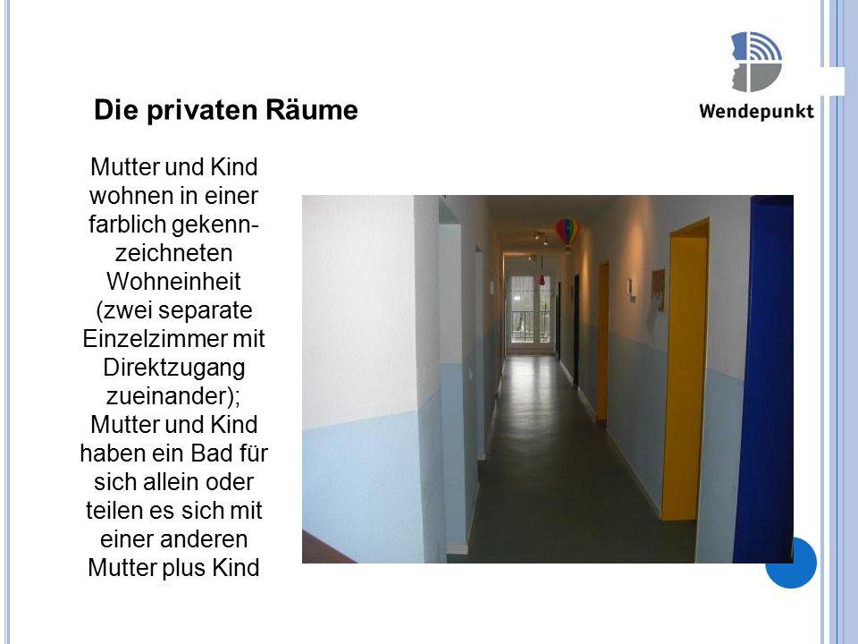 Die privaten Räume Finanzierung Mutter und Kind wohnen in einer farblich gekenn- zeichneten Wohneinheit (zwei separate Einzelzimmer mit Direktzugang z