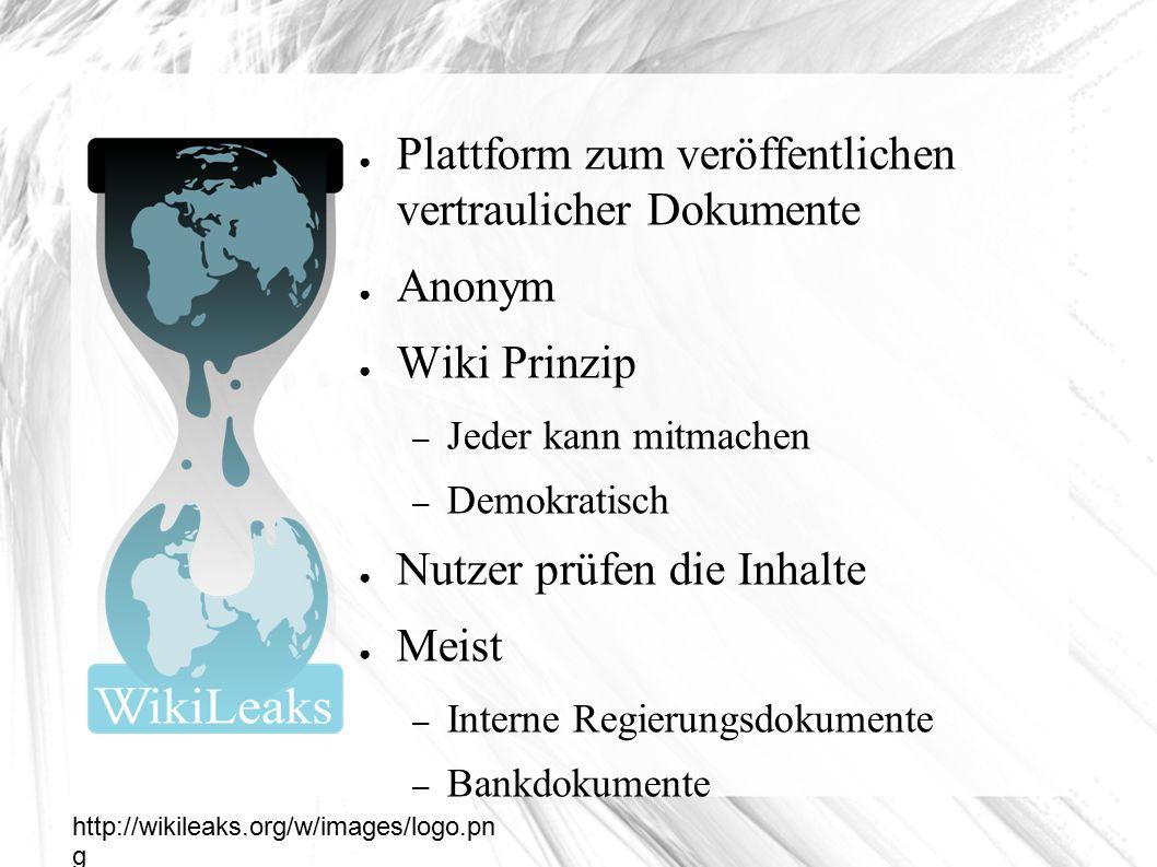 Wikileaks ● Plattform zum veröffentlichen vertraulicher Dokumente ● Anonym ● Wiki Prinzip – Jeder kann mitmachen – Demokratisch ● Nutzer prüfen die Inhalte ● Meist – Interne Regierungsdokumente – Bankdokumente http://wikileaks.org/w/images/logo.pn g