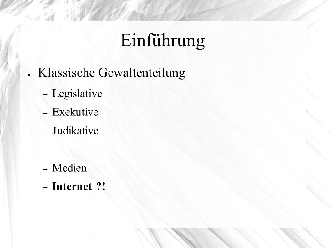 Bibliographie Alles entnommen am 17.06.09 Grafiken: http://assets0.twitter.com/images/twitter.png http://exbook.de/wp-content/uploads/2007/10/gewaltenteilung-in-deutschland.gif http://my.barackobama.com/favicon.ico http://s.ytimg.com/yt/img/master-vfl102488.png http://www.internet-sicherheit.de/fileadmin/images/internet-fruehwarn- systeme/Internet-Fruehwarnsystem-Globus.jpg Screenshot: http://www.youtube.com http://assets0.twitter.com/images/twitter.png http://exbook.de/wp-content/uploads/2007/10/gewaltenteilung-in-deutschland.gif http://my.barackobama.com/favicon.ico http://s.ytimg.com/yt/img/master-vfl102488.pnghttp://www.internet-sicherheit.de/fileadmin/images/internet-fruehwarn- systeme/Internet-Fruehwarnsystem-Globus.jpg http://www.youtube.com Hintergrundinformationen: https://epetitionen.bundestag.de/index.php?action=petition;sa=details;petition=3860 http://my.barackobama.com http://netzpolitik.org/ http://twitter.com http://www.andreas.de/wordpress/archives/2009/01/15/flugzeugabsturz-in-new-york-40-minuten-oder-warum-twitter-an- relevanz-gewinnt/http://www.heise.de/newsticker/Das-Geheimnis-seines-Erfolges-Obamas-Wahlkampf-2-0-- /meldung/118405 http://www.youtube.com Wikipedia: http://de.wikipedia.org/wiki/Gewaltenteilung http://de.wikipedia.org/wiki/Twitter http://de.wikipedia.org/wiki/Youtube https://epetitionen.bundestag.de/index.php?action=petition;sa=details;petition=3860 http://my.barackobama.com http://netzpolitik.org/ http://twitter.com http://www.andreas.de/wordpress/archives/2009/01/15/flugzeugabsturz-in-new-york-40-minuten-oder-warum-twitter-an- relevanz-gewinnt/http://www.heise.de/newsticker/Das-Geheimnis-seines-Erfolges-Obamas-Wahlkampf-2-0-- /meldung/118405 http://www.youtube.com http://de.wikipedia.org/wiki/Gewaltenteilung http://de.wikipedia.org/wiki/Twitter http://de.wikipedia.org/wiki/Youtube E-Petition