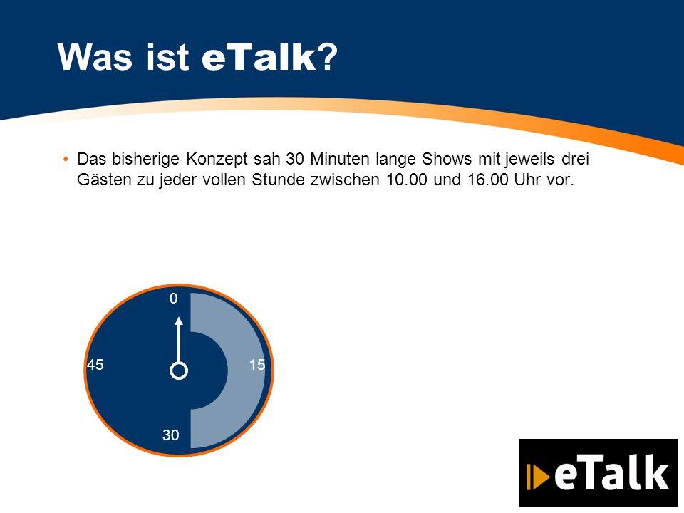 Das bisherige Konzept sah 30 Minuten lange Shows mit jeweils drei Gästen zu jeder vollen Stunde zwischen 10.00 und 16.00 Uhr vor. Was ist eTalk ? 0 30