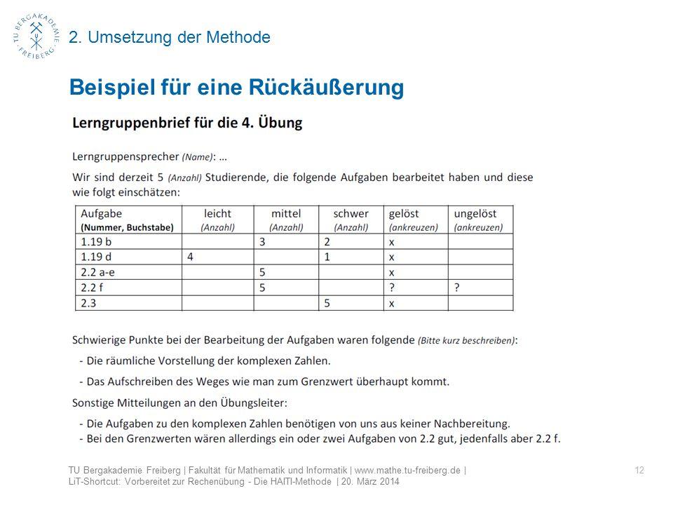 2. Umsetzung der Methode 12 Beispiel für eine Rückäußerung TU Bergakademie Freiberg | Fakultät für Mathematik und Informatik | www.mathe.tu-freiberg.d