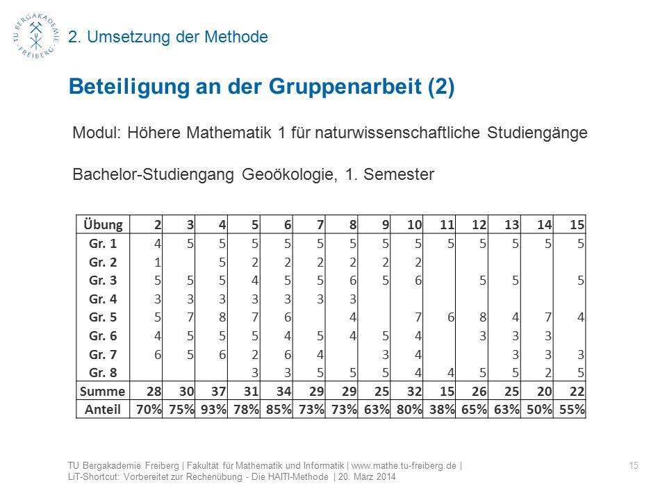 2. Umsetzung der Methode 15 Beteiligung an der Gruppenarbeit (2) TU Bergakademie Freiberg | Fakultät für Mathematik und Informatik | www.mathe.tu-frei