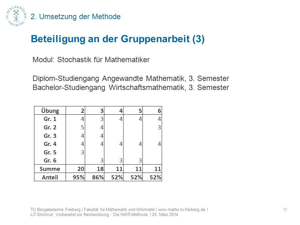 2. Umsetzung der Methode 16 Beteiligung an der Gruppenarbeit (3) TU Bergakademie Freiberg | Fakultät für Mathematik und Informatik | www.mathe.tu-frei