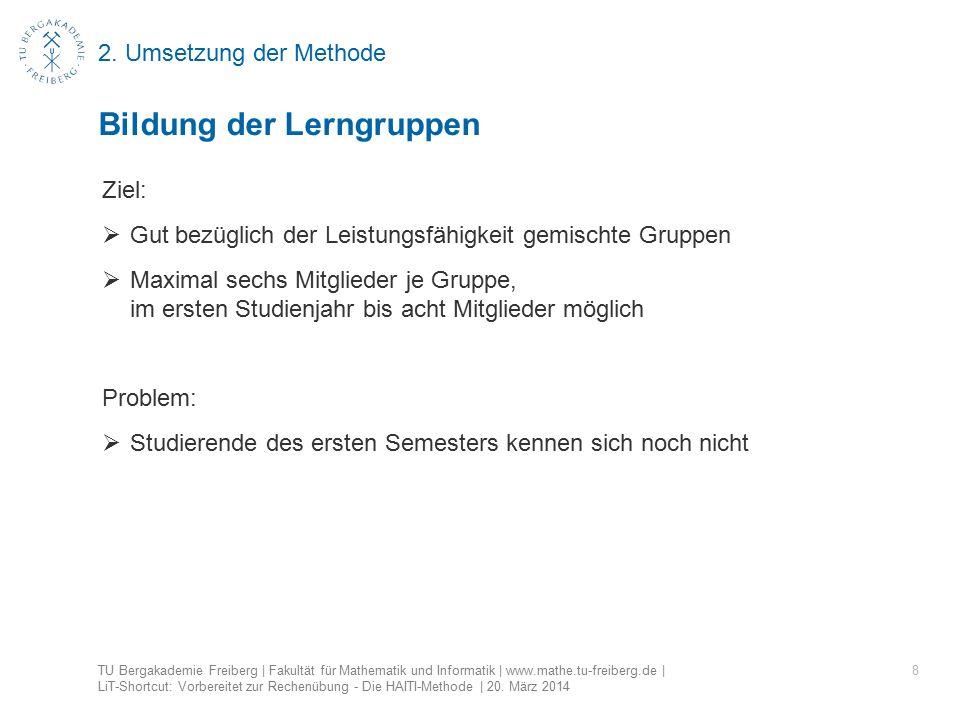 2. Umsetzung der Methode 8 Bildung der Lerngruppen TU Bergakademie Freiberg | Fakultät für Mathematik und Informatik | www.mathe.tu-freiberg.de | LiT-
