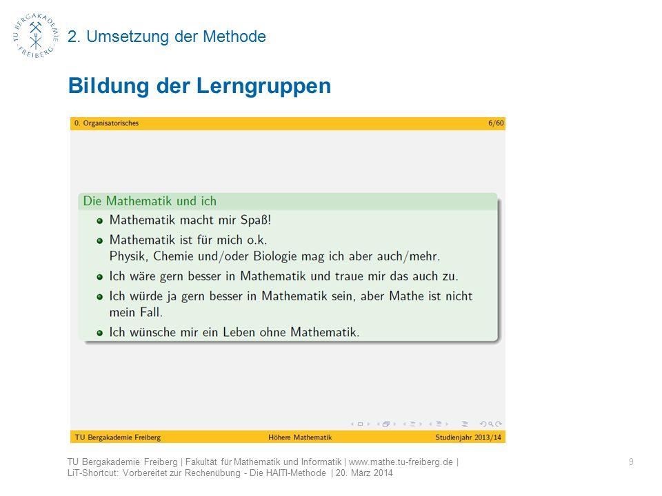 2. Umsetzung der Methode 9 Bildung der Lerngruppen TU Bergakademie Freiberg | Fakultät für Mathematik und Informatik | www.mathe.tu-freiberg.de | LiT-