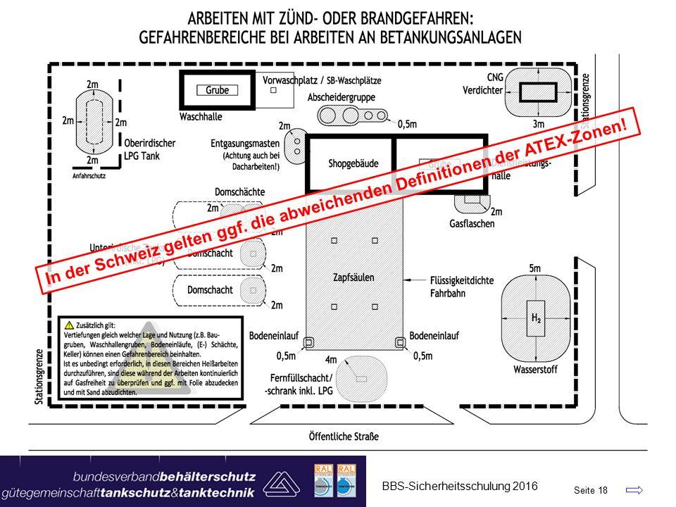 BBS-Sicherheitsschulung 2016 Seite 18 In der Schweiz gelten ggf.