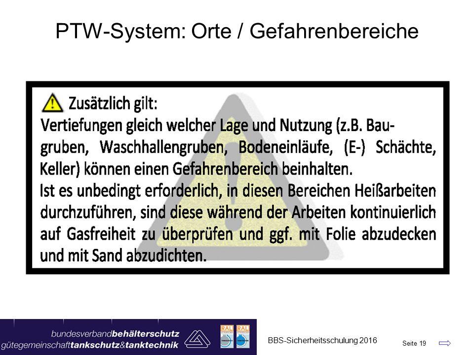 BBS-Sicherheitsschulung 2016 Seite 19 PTW-System: Orte / Gefahrenbereiche