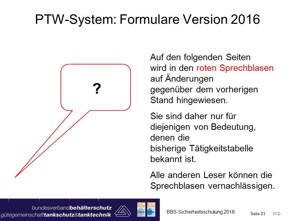 PTW-System: Formulare Version 2016 Auf den folgenden Seiten wird in den roten Sprechblasen auf Änderungen gegenüber dem vorherigen Stand hingewiesen.