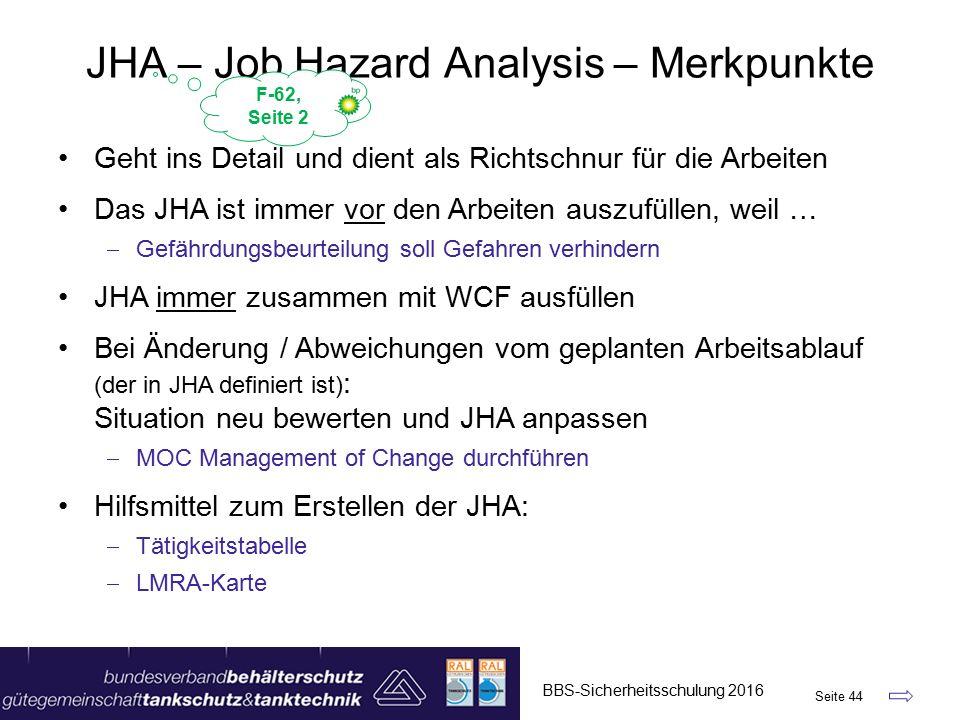 JHA – Job Hazard Analysis – Merkpunkte BBS-Sicherheitsschulung 2016 Seite 44 Geht ins Detail und dient als Richtschnur für die Arbeiten Das JHA ist immer vor den Arbeiten auszufüllen, weil …  Gefährdungsbeurteilung soll Gefahren verhindern JHA immer zusammen mit WCF ausfüllen Bei Änderung / Abweichungen vom geplanten Arbeitsablauf (der in JHA definiert ist) : Situation neu bewerten und JHA anpassen  MOC Management of Change durchführen Hilfsmittel zum Erstellen der JHA:  Tätigkeitstabelle  LMRA-Karte F-62, Seite 2