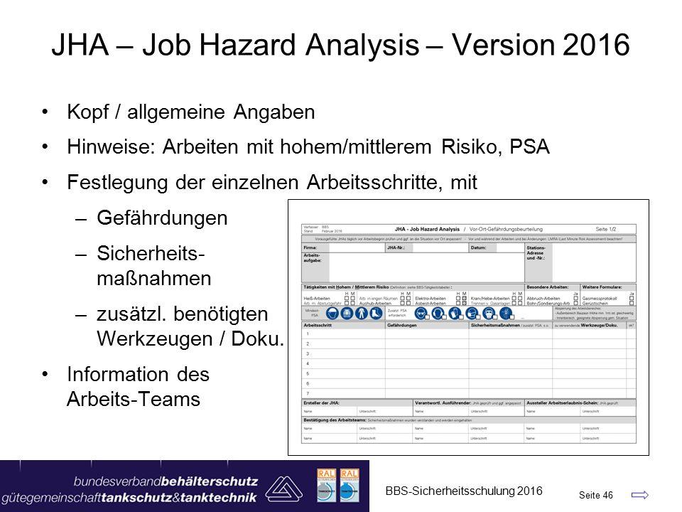 JHA – Job Hazard Analysis – Version 2016 BBS-Sicherheitsschulung 2016 Seite 46 Kopf / allgemeine Angaben Hinweise: Arbeiten mit hohem/mittlerem Risiko, PSA Festlegung der einzelnen Arbeitsschritte, mit –Gefährdungen –Sicherheits- maßnahmen –zusätzl.