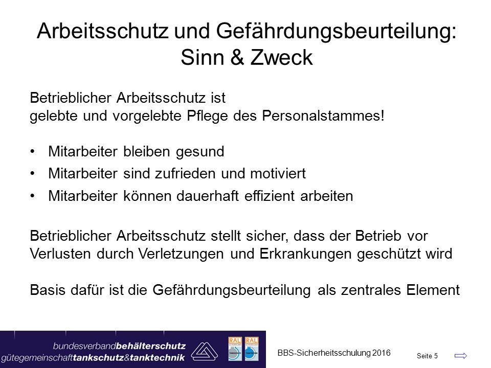 """BBS-Sicherheitsschulung 2016 Seite 36 Tätigkeits-Tabelle – Version 2016 """"Bohr- / Sondierungs-Arb."""