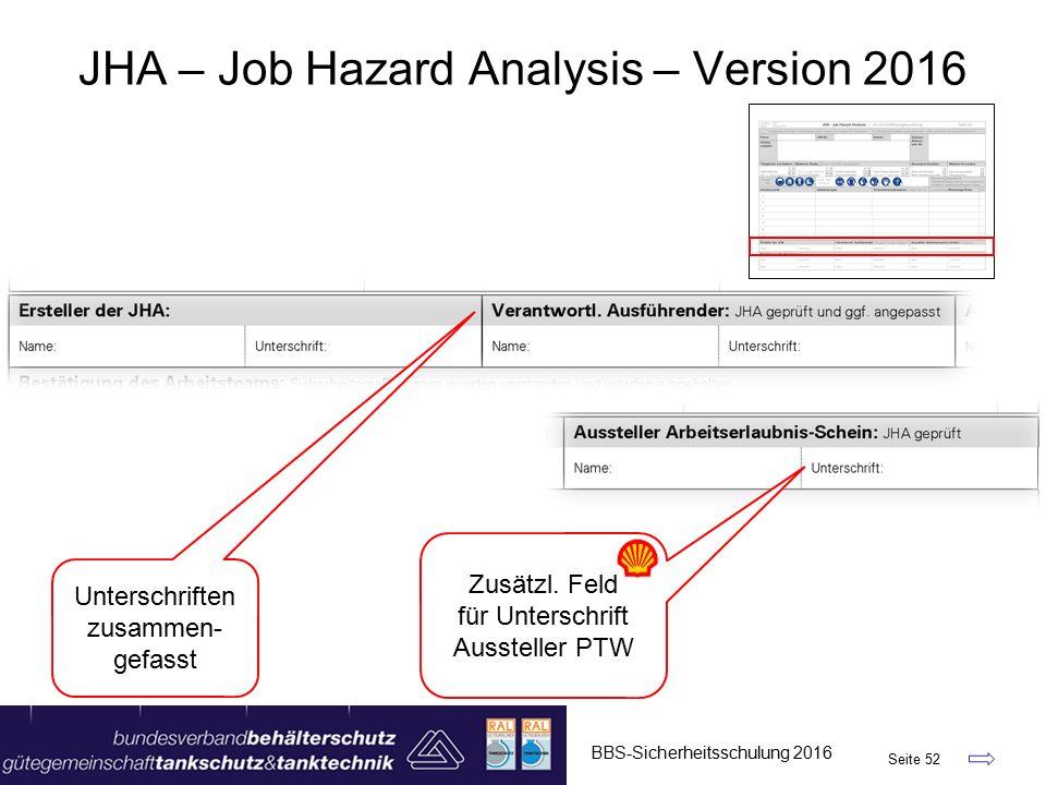 BBS-Sicherheitsschulung 2016 Seite 52 JHA – Job Hazard Analysis – Version 2016 Unterschriften zusammen- gefasst Zusätzl.