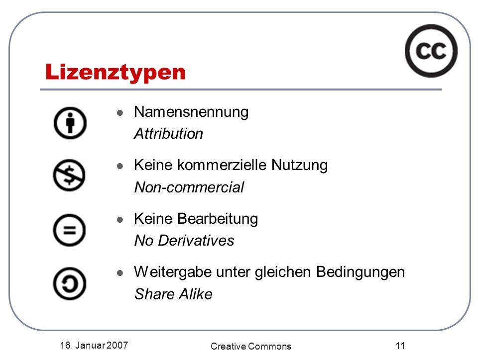 16. Januar 2007 Creative Commons 11 Lizenztypen Namensnennung Attribution Keine kommerzielle Nutzung Non-commercial Keine Bearbeitung No Derivatives W