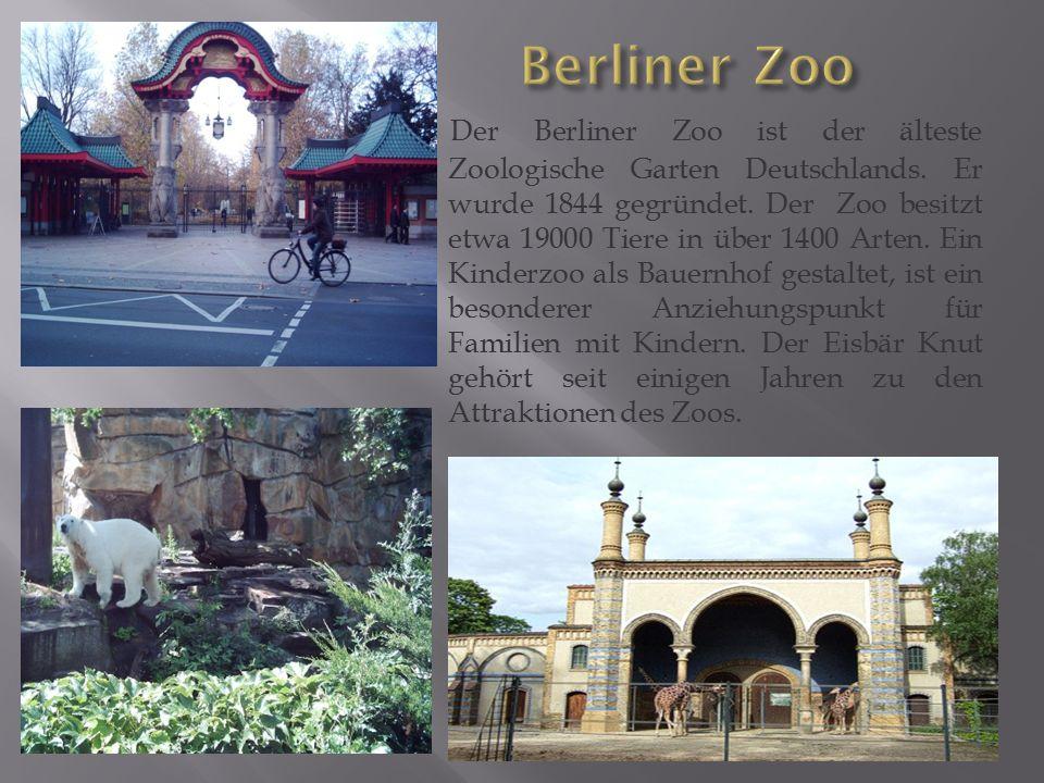Der Berliner Zoo ist der älteste Zoologische Garten Deutschlands. Er wurde 1844 gegründet. Der Zoo besitzt etwa 19000 Tiere in über 1400 Arten. Ein Ki