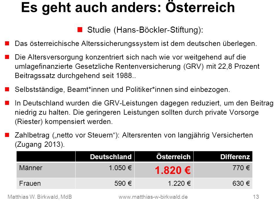 Es geht auch anders: Österreich Studie (Hans-Böckler-Stiftung): Das österreichische Alterssicherungssystem ist dem deutschen überlegen. Die Altersvers