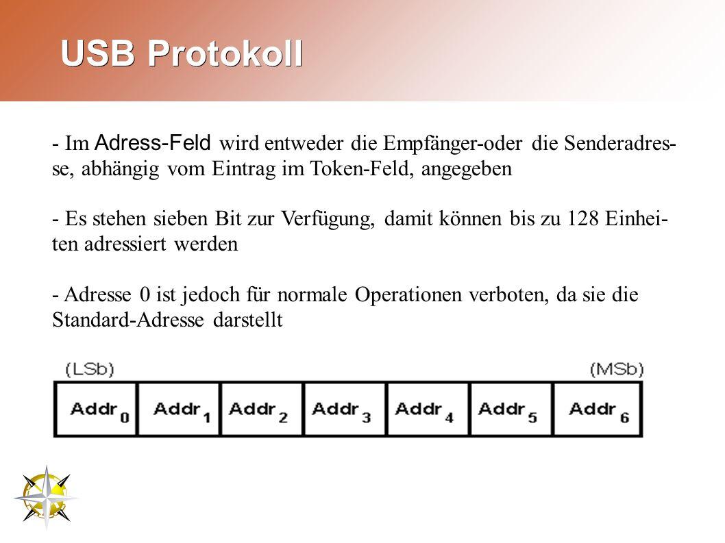 USB Protokoll - Im Adress-Feld wird entweder die Empfänger-oder die Senderadres- se, abhängig vom Eintrag im Token-Feld, angegeben - Es stehen sieben Bit zur Verfügung, damit können bis zu 128 Einhei- ten adressiert werden - Adresse 0 ist jedoch für normale Operationen verboten, da sie die Standard-Adresse darstellt