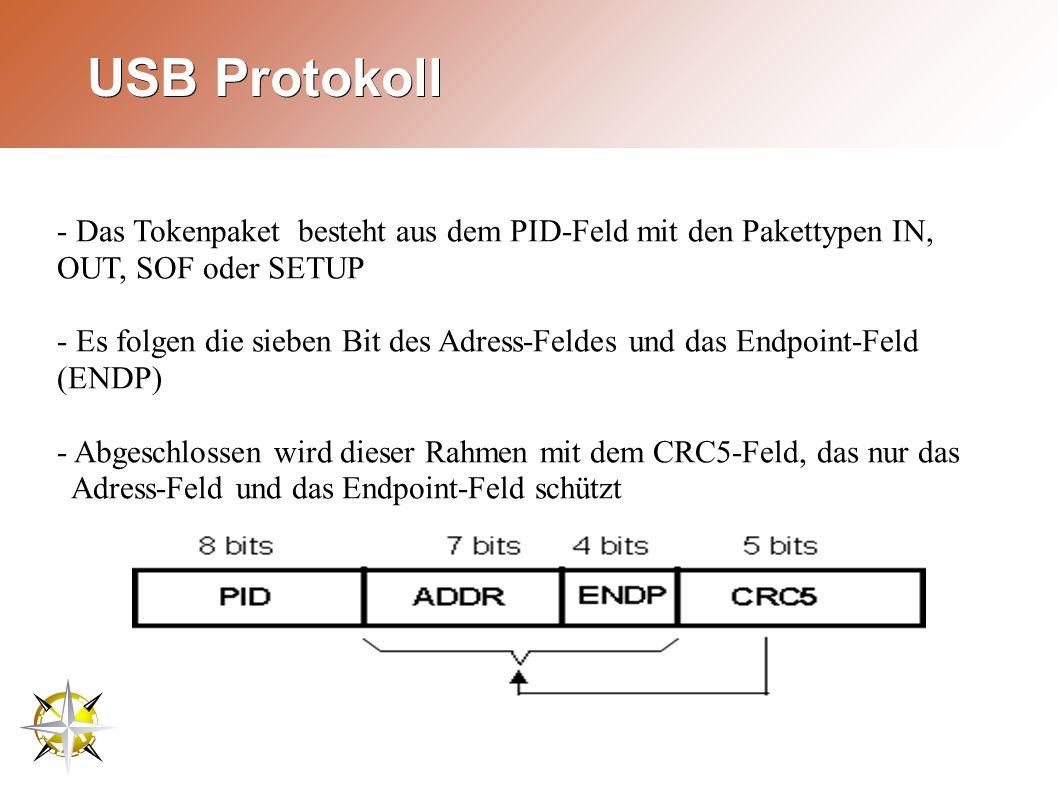 USB Protokoll - Das Tokenpaket besteht aus dem PID-Feld mit den Pakettypen IN, OUT, SOF oder SETUP - Es folgen die sieben Bit des Adress-Feldes und das Endpoint-Feld (ENDP) - Abgeschlossen wird dieser Rahmen mit dem CRC5-Feld, das nur das Adress-Feld und das Endpoint-Feld schützt