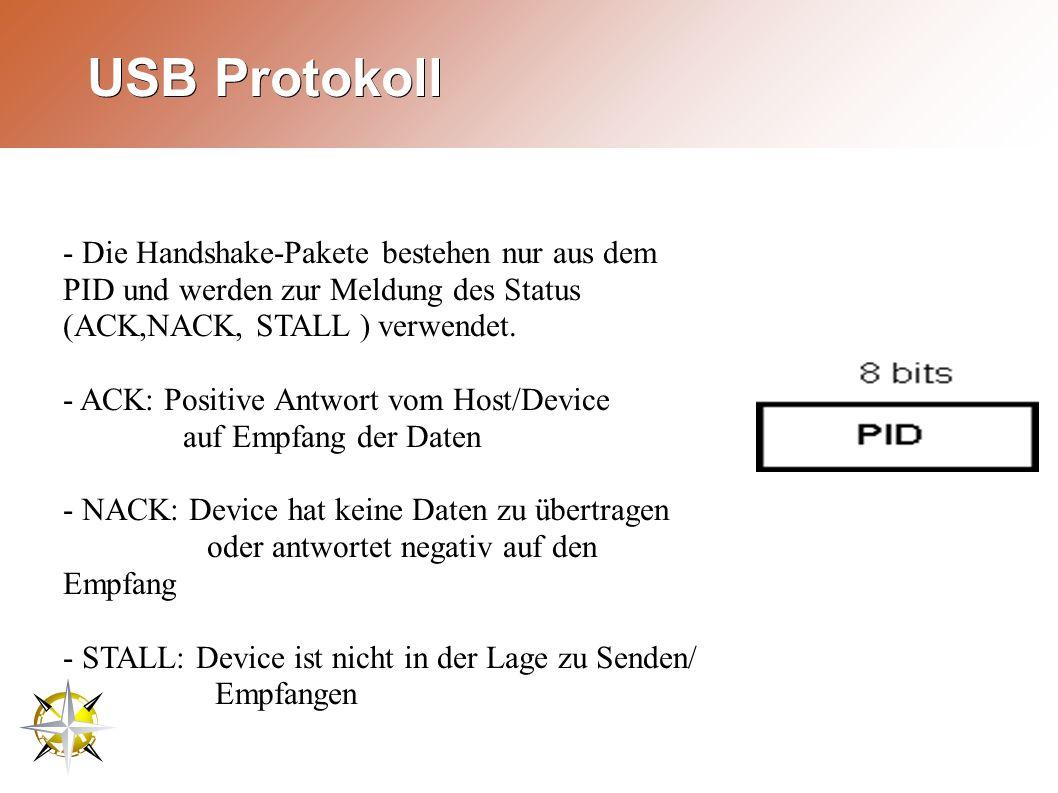USB Protokoll - Die Handshake-Pakete bestehen nur aus dem PID und werden zur Meldung des Status (ACK,NACK, STALL ) verwendet.