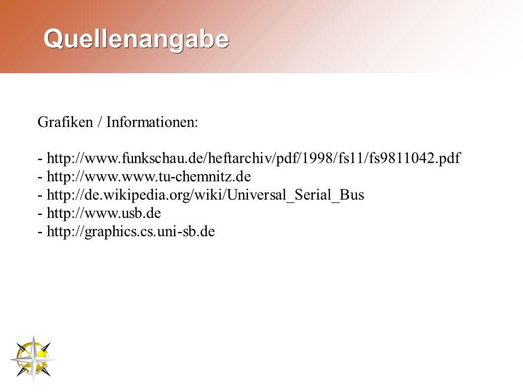 Quellenangabe Grafiken / Informationen: - http://www.funkschau.de/heftarchiv/pdf/1998/fs11/fs9811042.pdf - http://www.www.tu-chemnitz.de - http://de.wikipedia.org/wiki/Universal_Serial_Bus - http://www.usb.de - http://graphics.cs.uni-sb.de