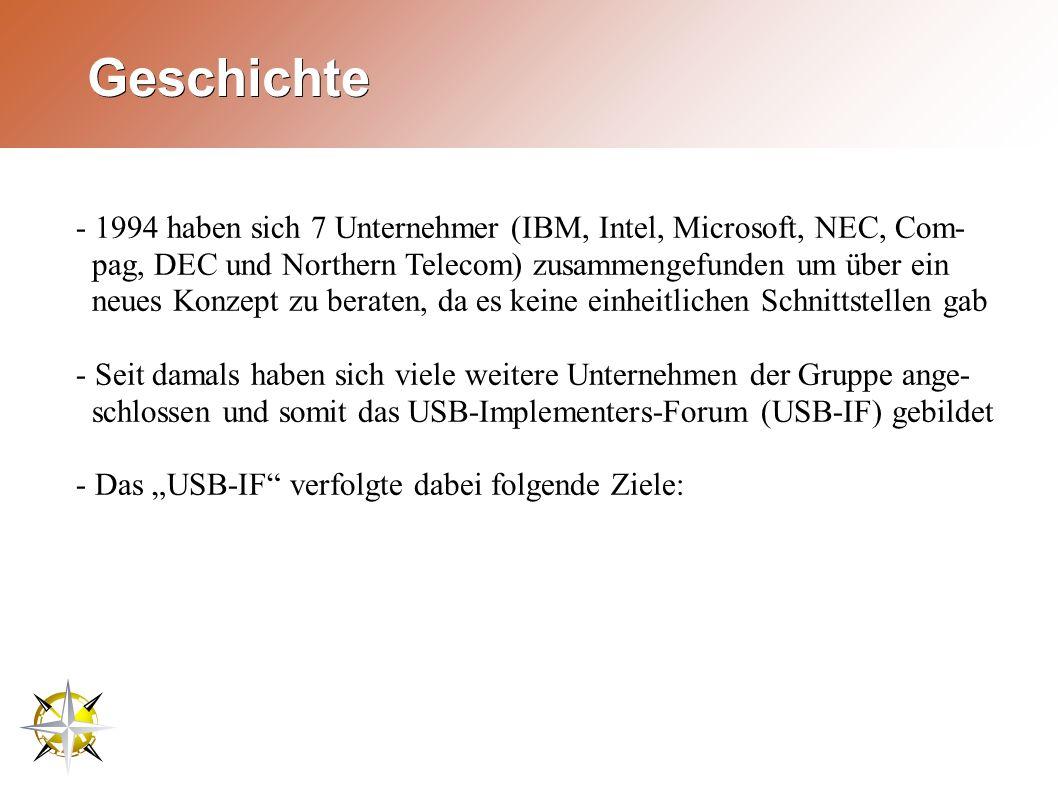 """Geschichte - 1994 haben sich 7 Unternehmer (IBM, Intel, Microsoft, NEC, Com- pag, DEC und Northern Telecom) zusammengefunden um über ein neues Konzept zu beraten, da es keine einheitlichen Schnittstellen gab - Seit damals haben sich viele weitere Unternehmen der Gruppe ange- schlossen und somit das USB-Implementers-Forum (USB-IF) gebildet - Das """"USB-IF verfolgte dabei folgende Ziele:"""