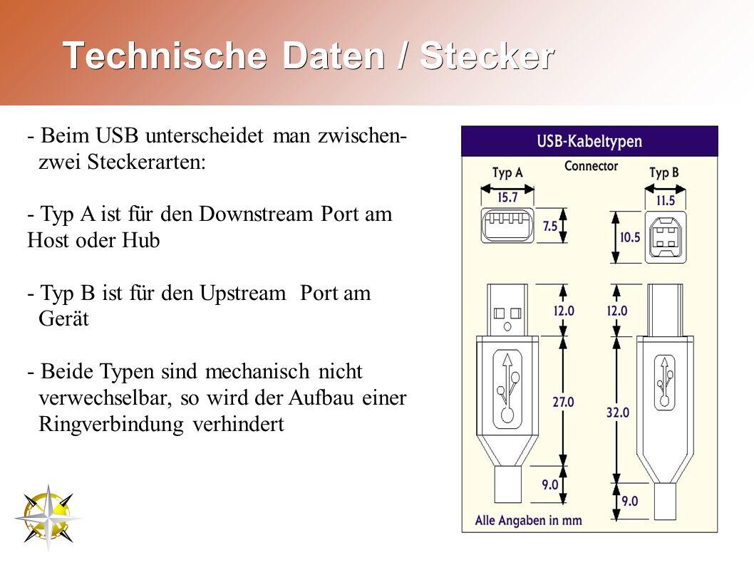 Technische Daten / Stecker - Beim USB unterscheidet man zwischen- zwei Steckerarten: - Typ A ist für den Downstream Port am Host oder Hub - Typ B ist für den Upstream Port am Gerät - Beide Typen sind mechanisch nicht verwechselbar, so wird der Aufbau einer Ringverbindung verhindert