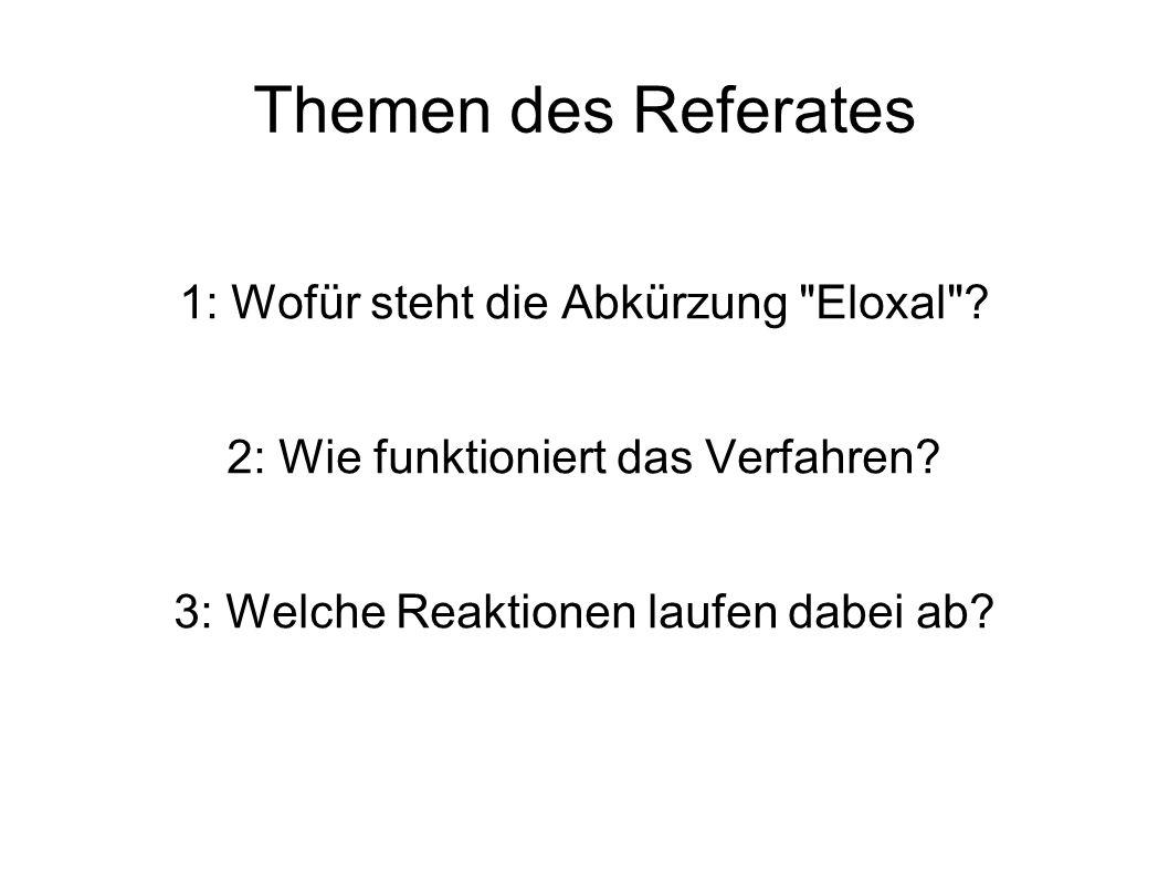 Themen des Referates 1: Wofür steht die Abkürzung Eloxal .