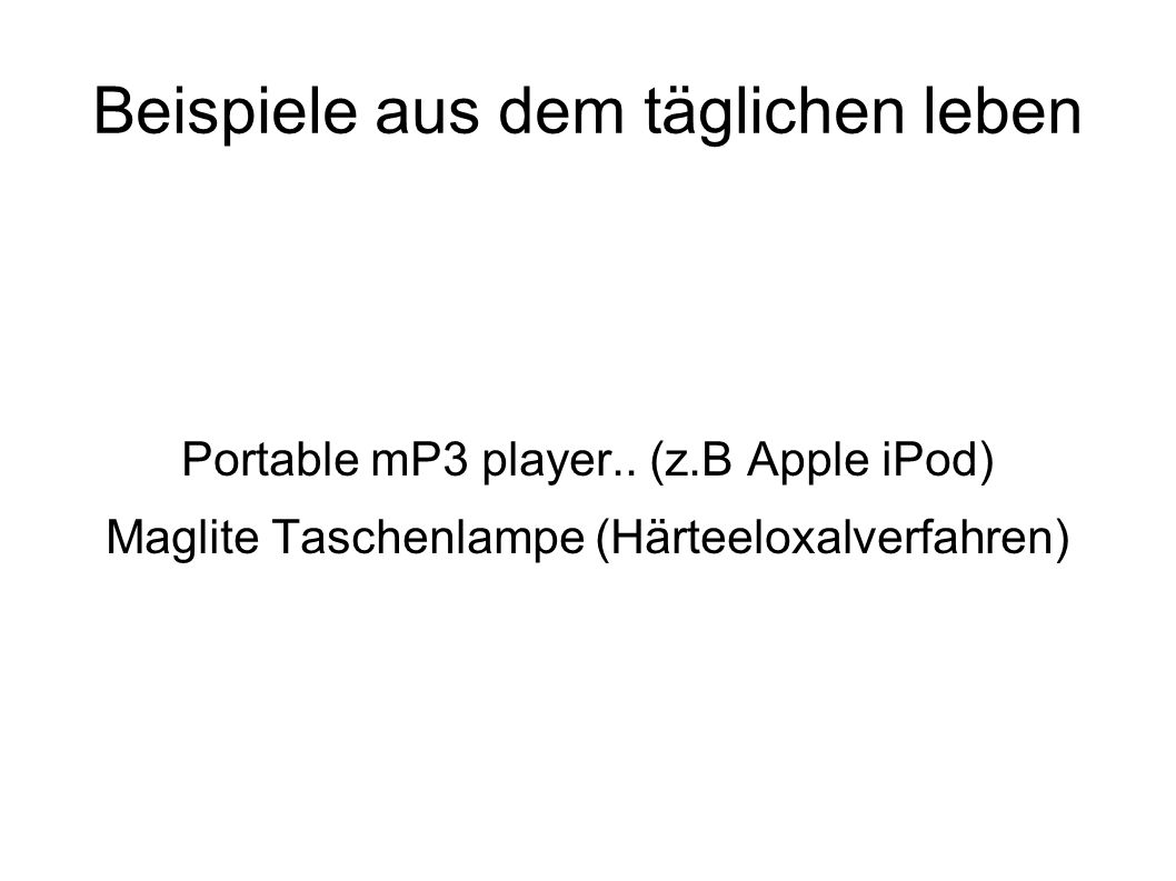 Beispiele aus dem täglichen leben Portable mP3 player..