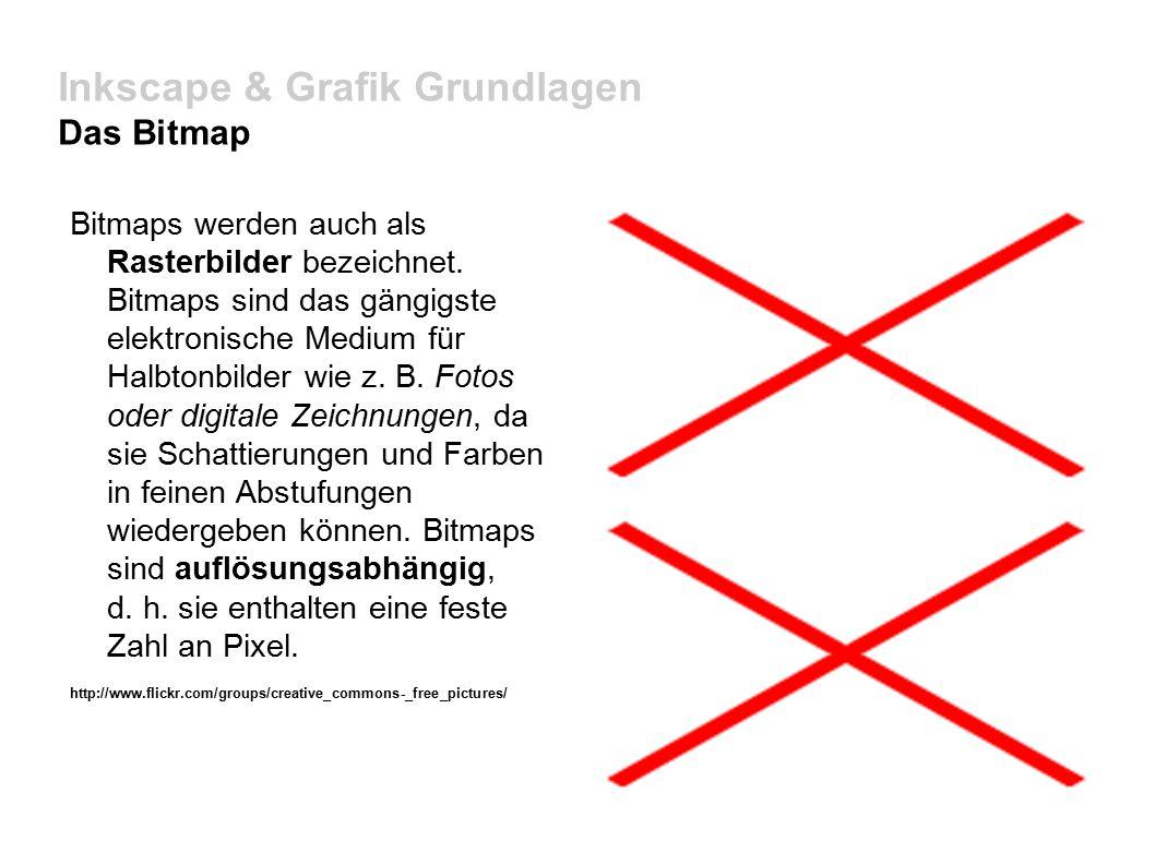 Inkscape & Grafik Grundlagen Das Bitmap Bitmaps werden auch als Rasterbilder bezeichnet.