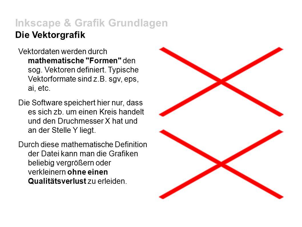 Inkscape & Grafik Grundlagen Die Vektorgrafik Vektordaten werden durch mathematische Formen den sog.