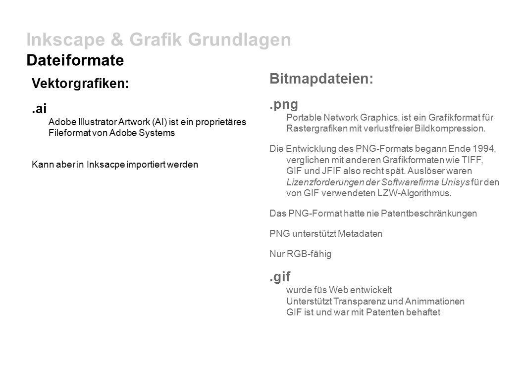 Inkscape & Grafik Grundlagen Dateiformate Vektorgrafiken:.ai Adobe Illustrator Artwork (AI) ist ein proprietäres Fileformat von Adobe Systems Kann aber in Inksacpe importiert werden Bitmapdateien:.png Portable Network Graphics, ist ein Grafikformat für Rastergrafiken mit verlustfreier Bildkompression.