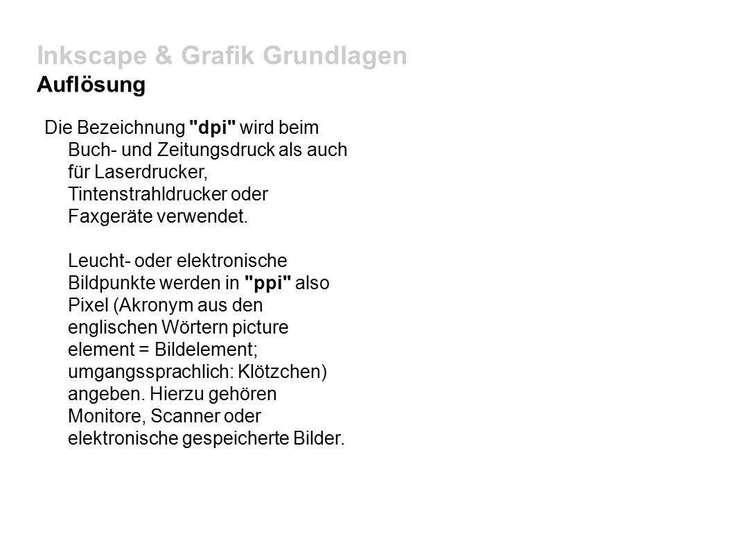 Inkscape & Grafik Grundlagen Auflösung Die Bezeichnung dpi wird beim Buch- und Zeitungsdruck als auch für Laserdrucker, Tintenstrahldrucker oder Faxgeräte verwendet.