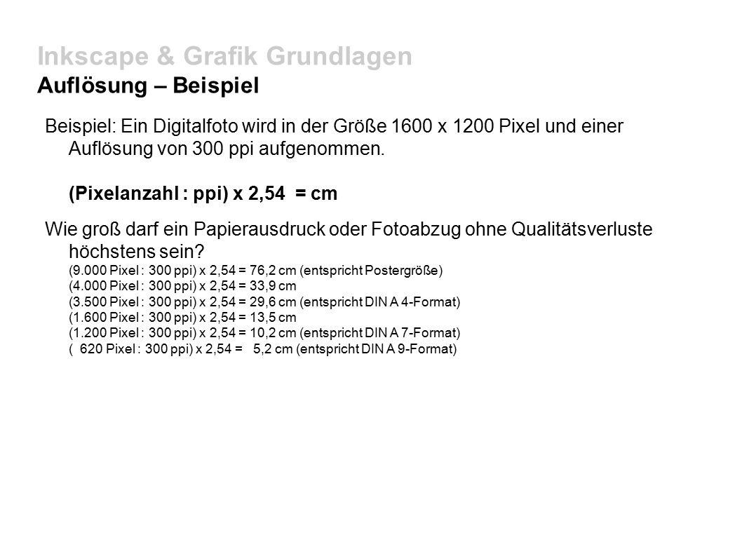 Inkscape & Grafik Grundlagen Auflösung – Beispiel Beispiel: Ein Digitalfoto wird in der Größe 1600 x 1200 Pixel und einer Auflösung von 300 ppi aufgenommen.