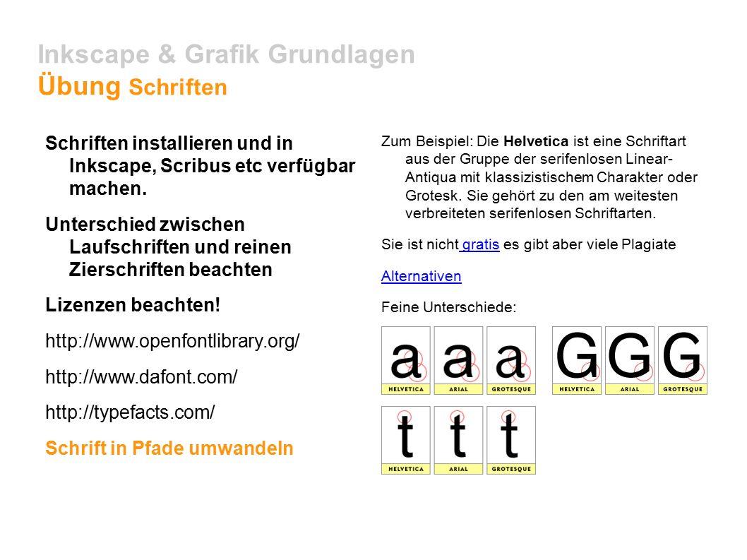 Inkscape & Grafik Grundlagen Übung Schriften Schriften installieren und in Inkscape, Scribus etc verfügbar machen.
