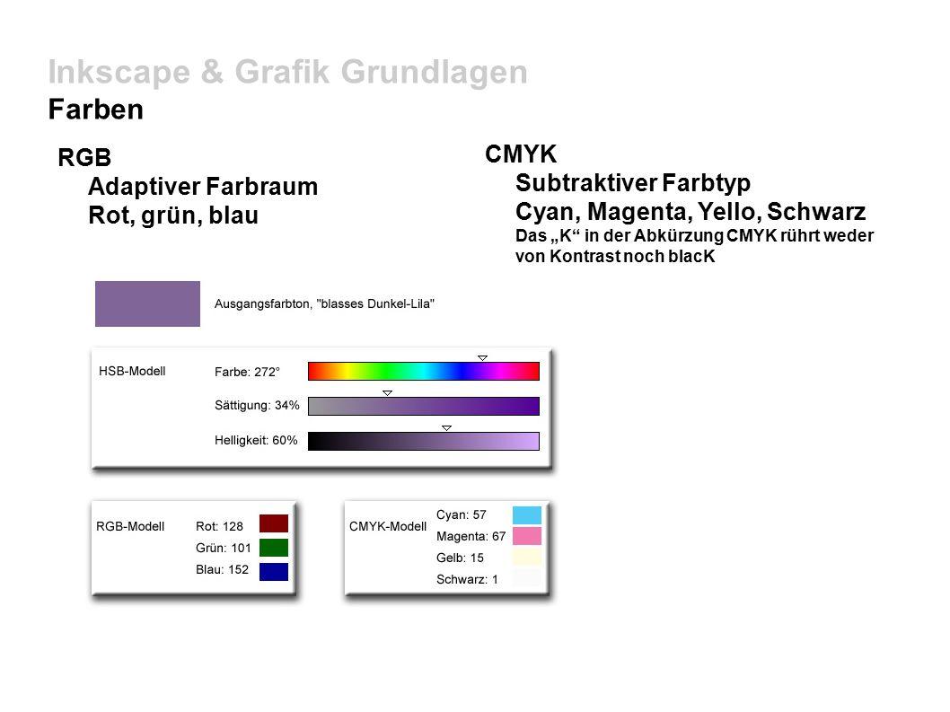 """Inkscape & Grafik Grundlagen Farben RGB Adaptiver Farbraum Rot, grün, blau CMYK Subtraktiver Farbtyp Cyan, Magenta, Yello, Schwarz Das """"K in der Abkürzung CMYK rührt weder von Kontrast noch blacK"""