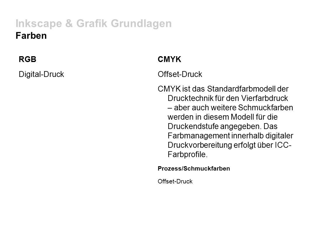 Inkscape & Grafik Grundlagen Farben RGB Digital-Druck CMYK Offset-Druck CMYK ist das Standardfarbmodell der Drucktechnik für den Vierfarbdruck – aber auch weitere Schmuckfarben werden in diesem Modell für die Druckendstufe angegeben.