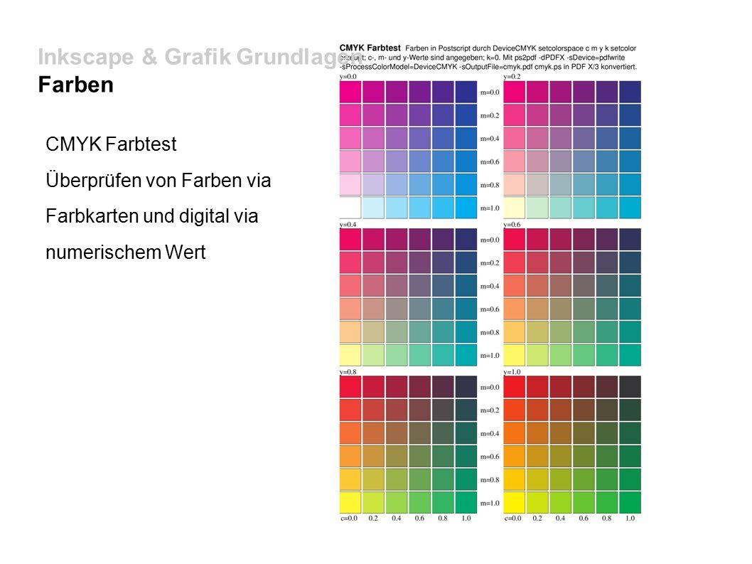 Inkscape & Grafik Grundlagen Farben CMYK Farbtest Überprüfen von Farben via Farbkarten und digital via numerischem Wert