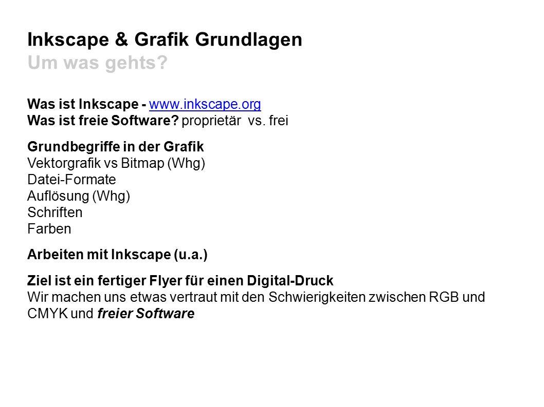 Inkscape & Grafik Grundlagen Dateiformate Vektorgrafiken:.svg.svg (World Wide Web Consortium) Scalable Vector Graphics ist ein offener Standard und von vielen Zeichenprogrammen unterstützt.