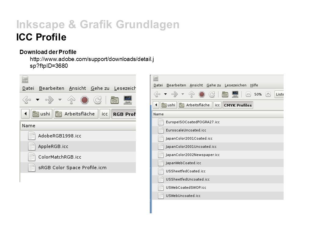 Inkscape & Grafik Grundlagen ICC Profile Download der Profile http://www.adobe.com/support/downloads/detail.j sp ftpID=3680