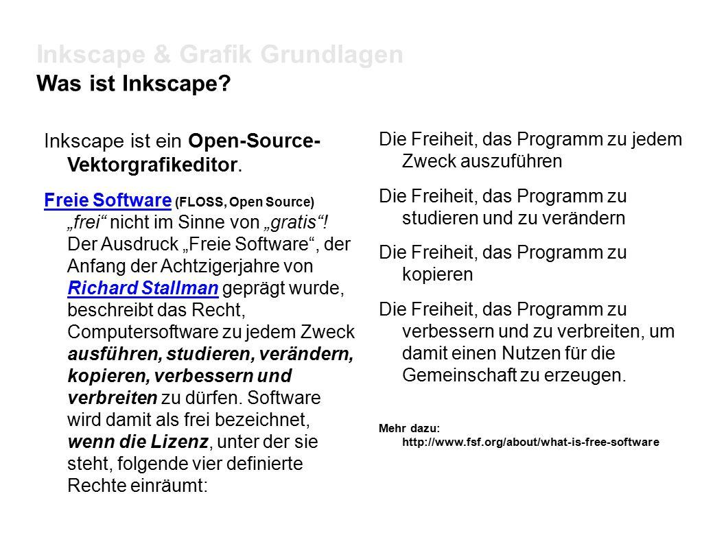 Inkscape & Grafik Grundlagen Was ist Inkscape. Inkscape ist ein Open-Source- Vektorgrafikeditor.