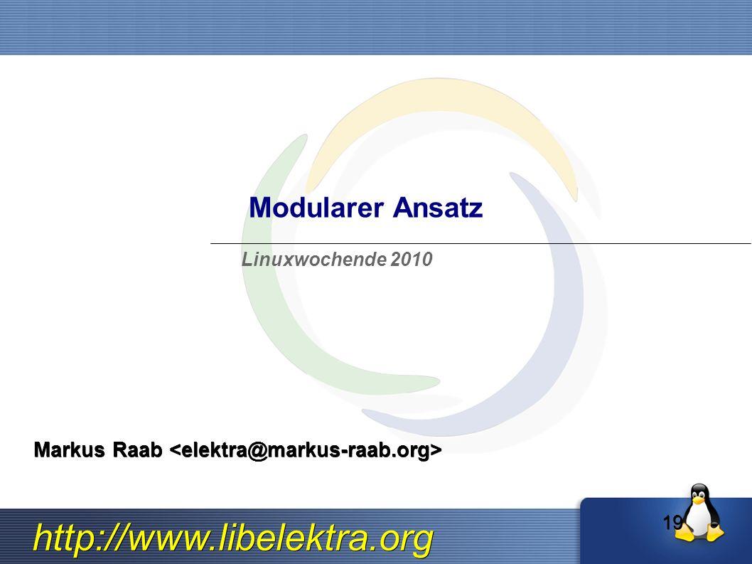 http://www.libelektra.org Modularer Ansatz Markus Raab Markus Raab Linuxwochende 2010 19